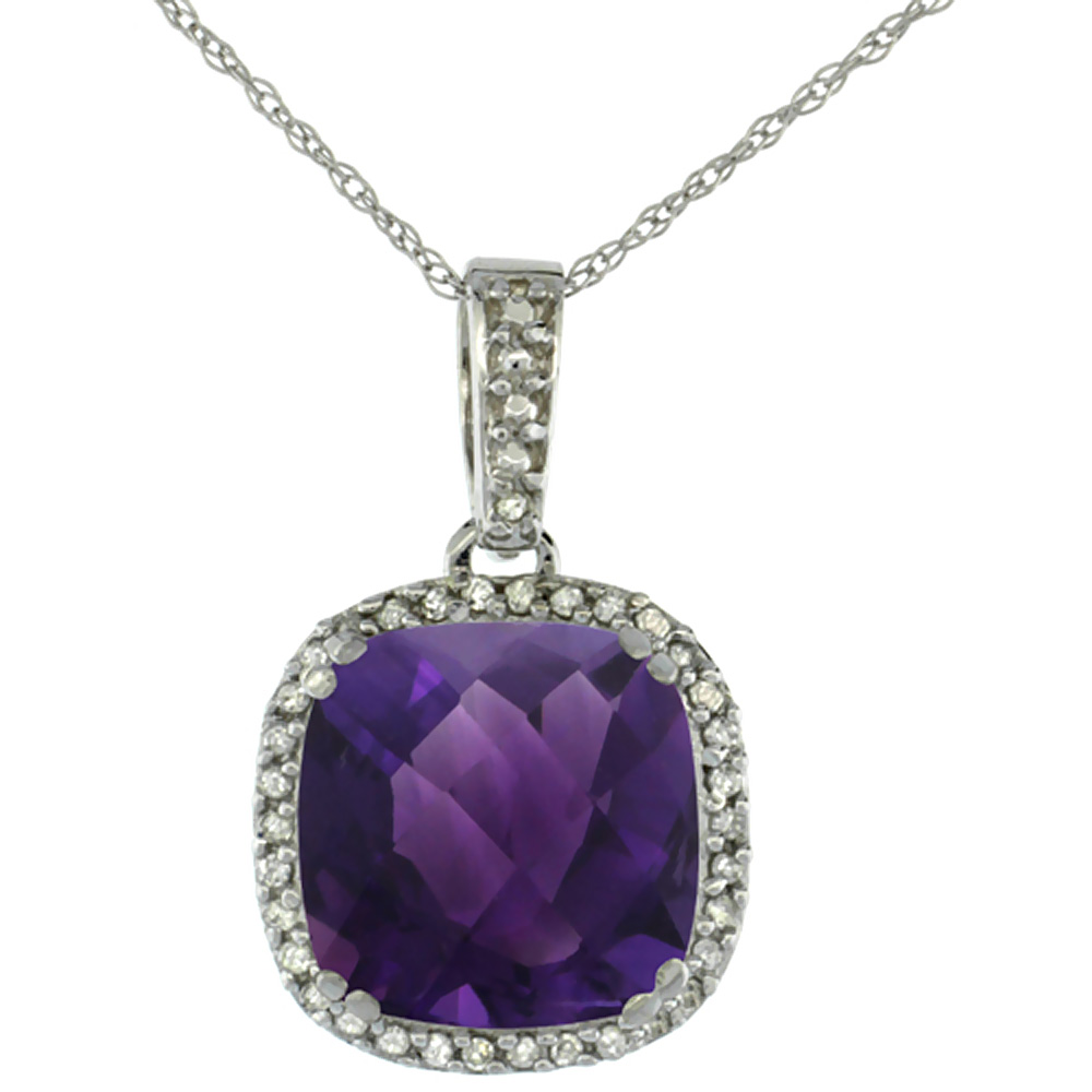 10k White Gold Diamond Halo Natural Amethyst Necklace Cushion Shaped 10x10mm, 18 inch long