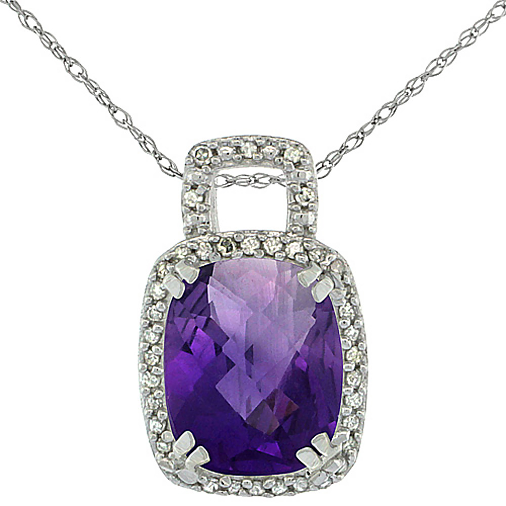 10K White Gold Natural Amethyst Pendant Octagon Cushion 10x8 mm & Diamond Accents