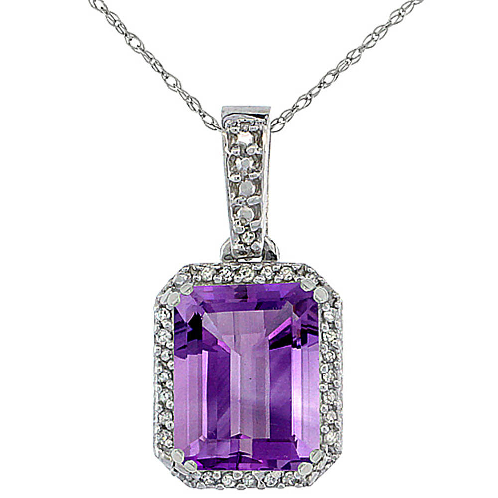 10K White Gold Diamond Natural Amethyst Pendant Octagon 9x7 mm