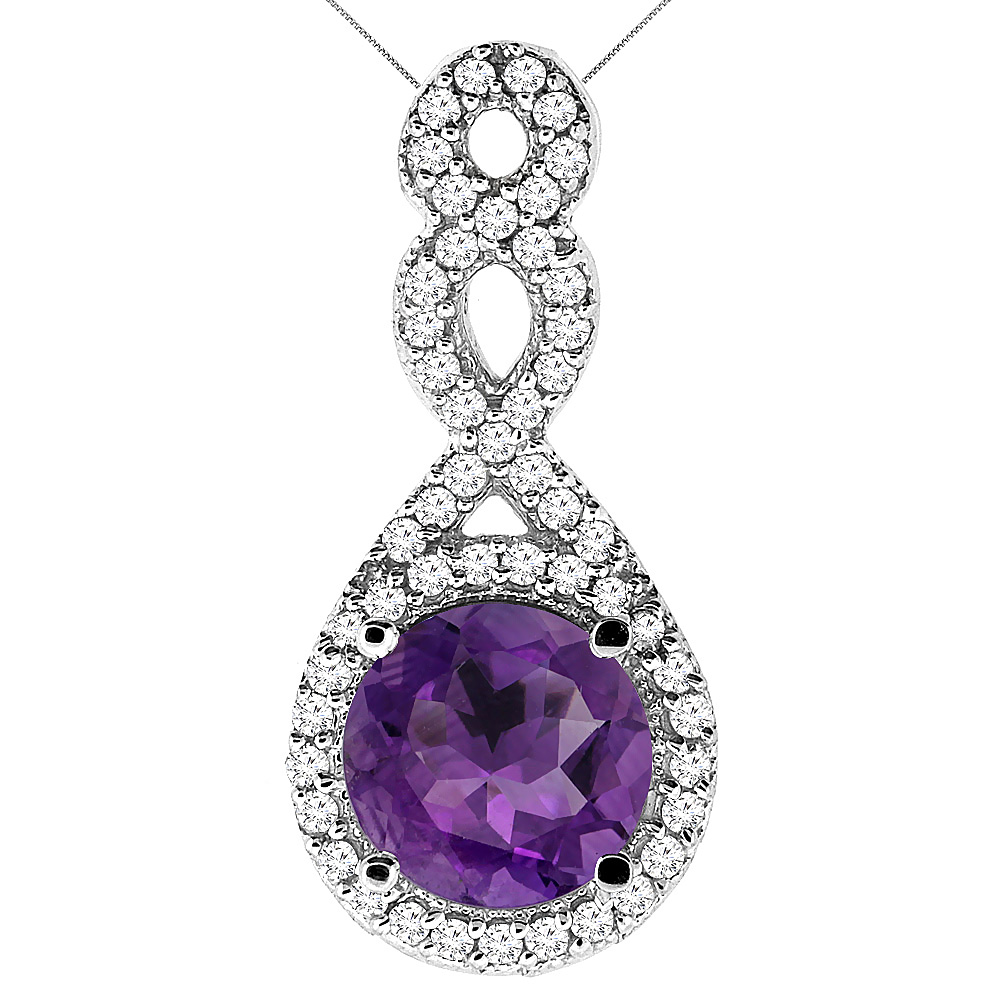 10K White Gold Natural Amethyst Eternity Pendant Round 7x7mm with 18 inch Gold Chain