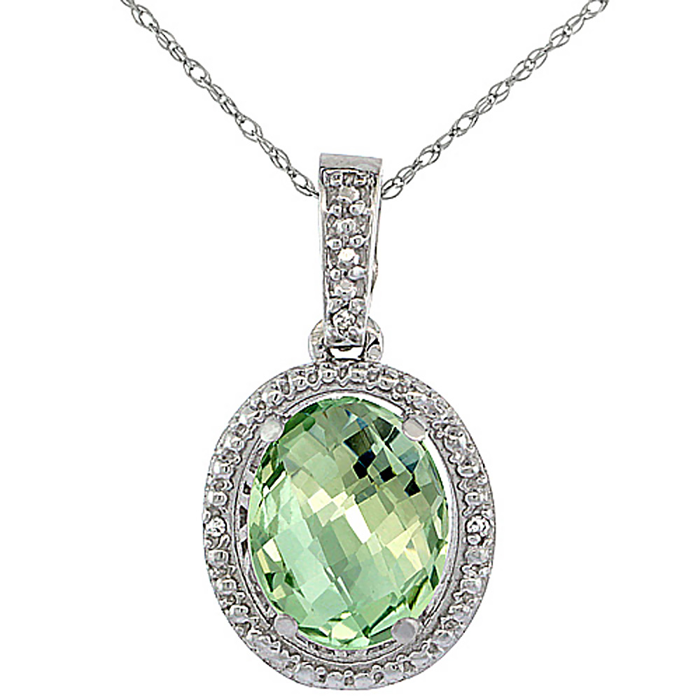 10K White Gold 0.09 cttw Diamond Natural Green Amethyst Pendant Oval 10x8 mm