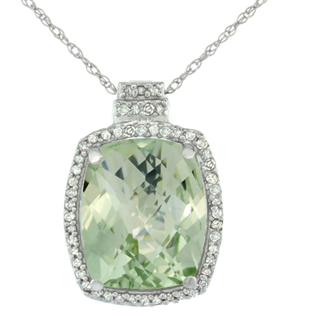 10K White Gold 0.20 cttw Diamond Natural Green Amethyst Pendant Octagon Cushion 11x9 mm