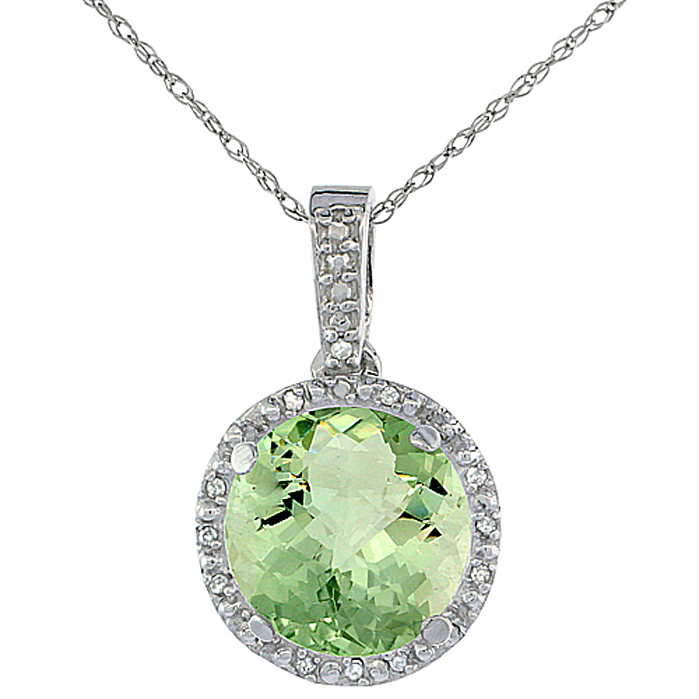 10K White Gold 0.03 cttw Diamond Natural Green Amethyst Pendant Round 11x11 mm