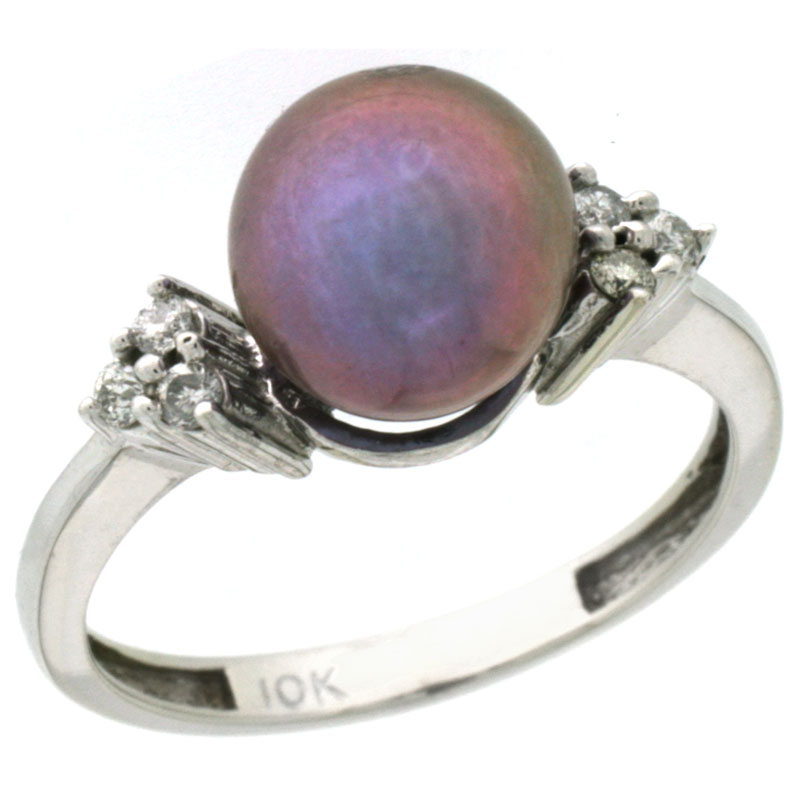 10k White Gold 8.5 mm Pink Pearl Ring w/ 0.105 Carat Brilliant Cut Diamonds, 7/16 in. (11mm) wide