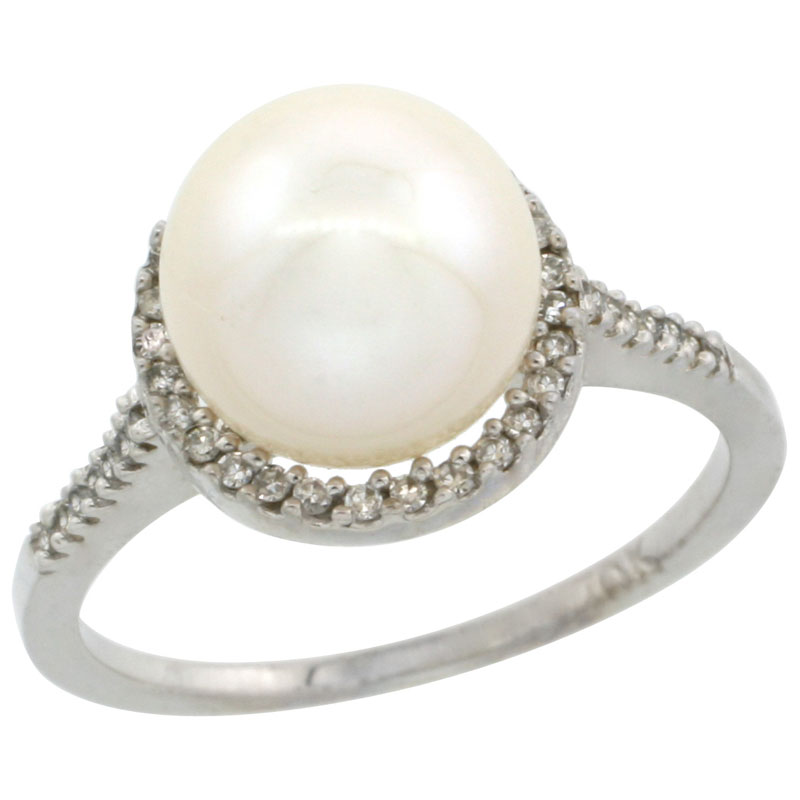 10k White Gold Halo Engagement 8.5 mm White Pearl Ring w/ 0.146 Carat Brilliant Cut Diamonds, 7/16 in. (11mm) wide