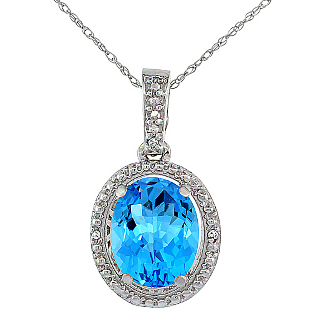 10K White Gold 0.09 cttw Diamond Natural Swiss Blue Topaz Pendant Oval 10x8 mm