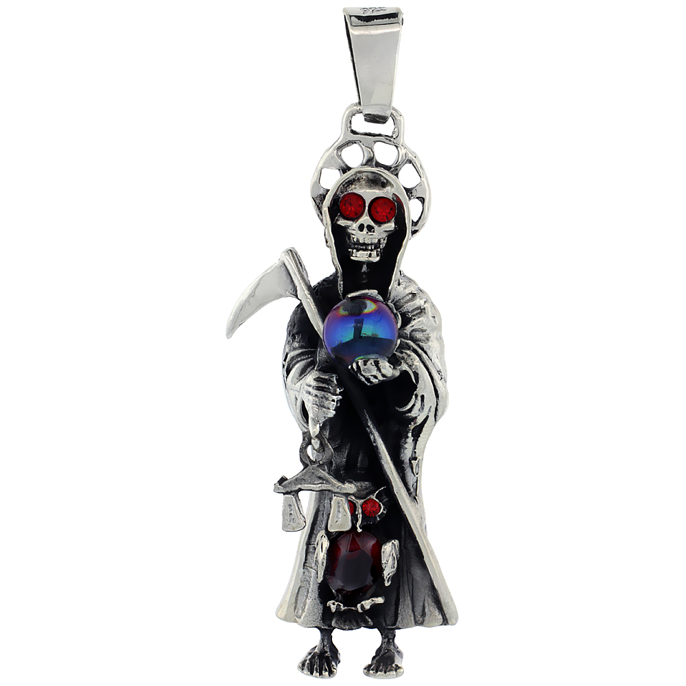 Sterling Silver Santa Muerte Pendant Cubic Zirconia Red Eyes, 2 7/8 inch long
