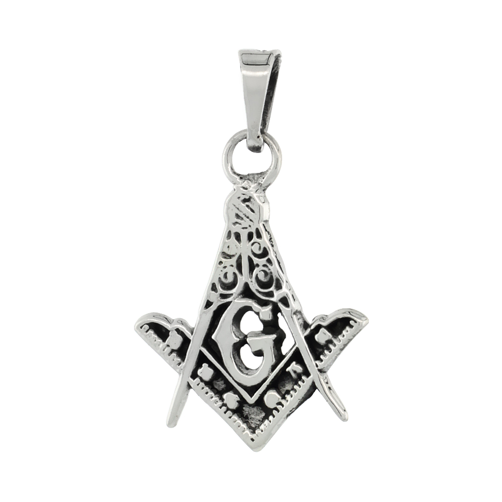Sterling Silver Masonic Symbol Square & Compass Pendant Handmade, 21mm long