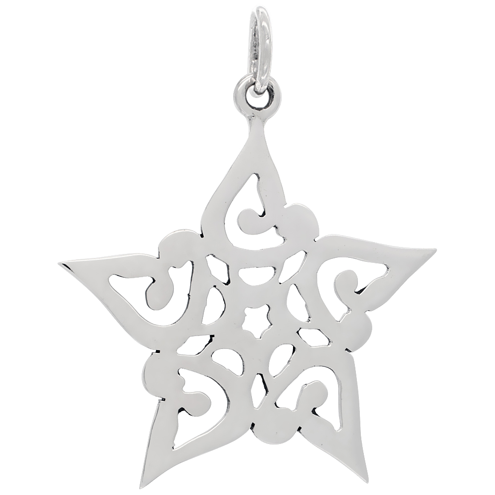 Sterling Silver Snowflake Pendant Large Size Handmade 1 7/8 inch , NO Chain Included