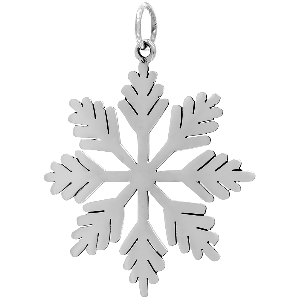 Sterling Silver Snowflake Star Pendant Large Size Handmade 2 1/16 inch , NO Chain Included