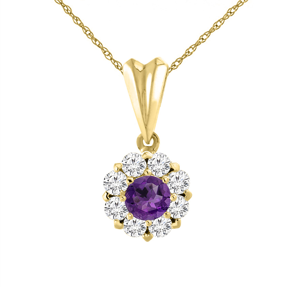 14K Yellow Gold Natural Amethyst Necklace with Diamond Halo Round 6 mm
