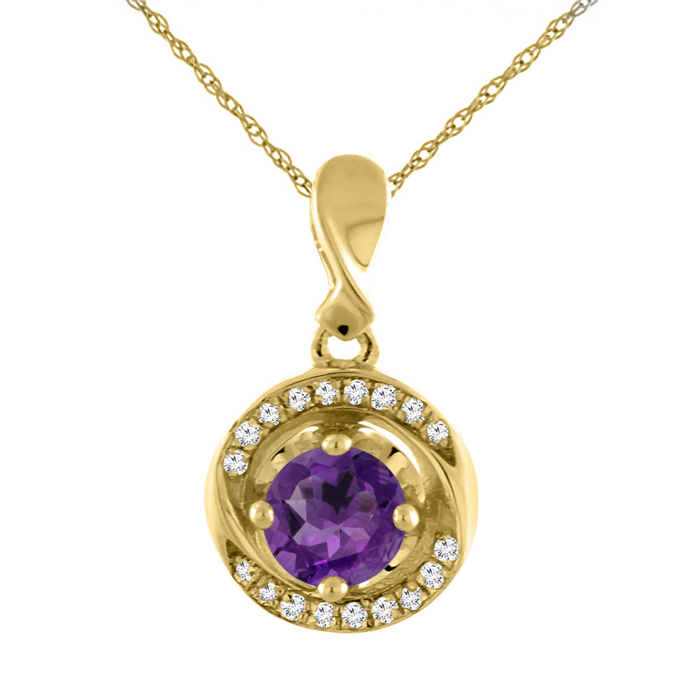 14K Yellow Gold Natural Amethyst Necklace with Diamond Accents Round 4 mm