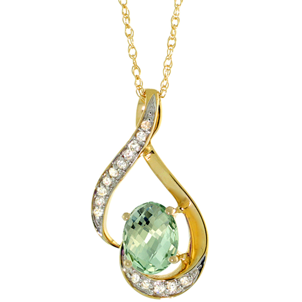 14K Yellow Gold 0.07 cttw Diamond Natural Green Amethyst Pendant Oval 7x5 mm, 3/4 inch long
