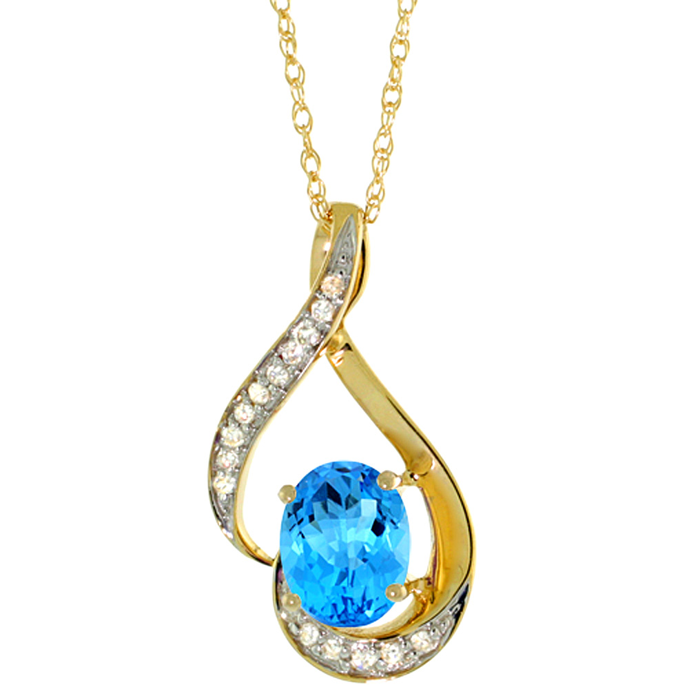 14K Yellow Gold 0.07 cttw Diamond Natural Swiss Blue Topaz Pendant Oval 7x5 mm, 3/4 inch long