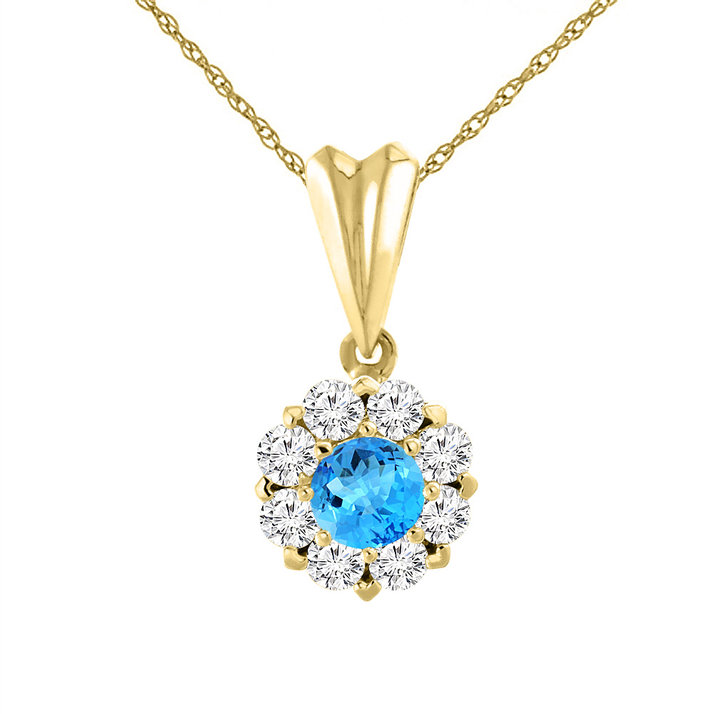 14K Yellow Gold Natural Swiss Blue Topaz Necklace with Diamond Halo Round 6 mm
