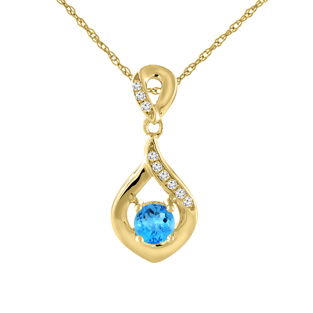 14K Yellow Gold Natural Swiss Blue Topaz Necklace with Diamond Accents Round 4 mm