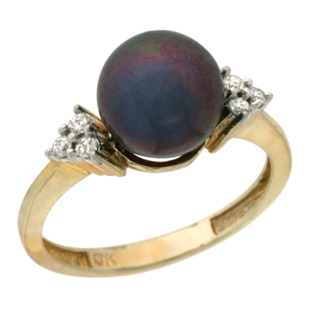 14k Gold 8.5 mm Black Pearl Ring w/ 0.105 Carat Brilliant Cut Diamonds, 7/16 in. (11mm) wide