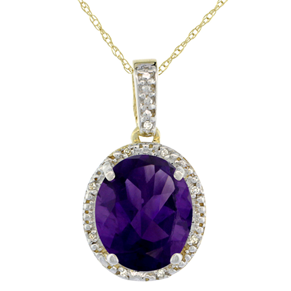 10K Yellow Gold Diamond Natural Amethyst Pendant Oval 12x10 mm