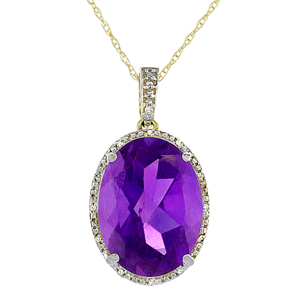 10K Yellow Gold Diamond Natural Amethyst Pendant Oval 18x13 mm