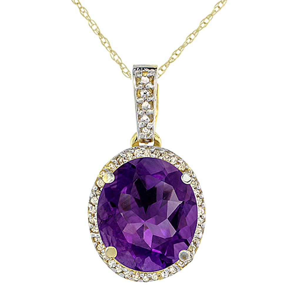 10K Yellow Gold Natural Amethyst Pendant Oval 11x9 mm