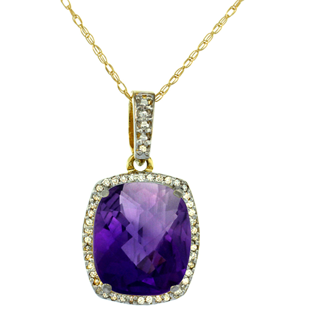 10K Yellow Gold Natural Amethyst Pendant Octagon Cushion 12x10 mm