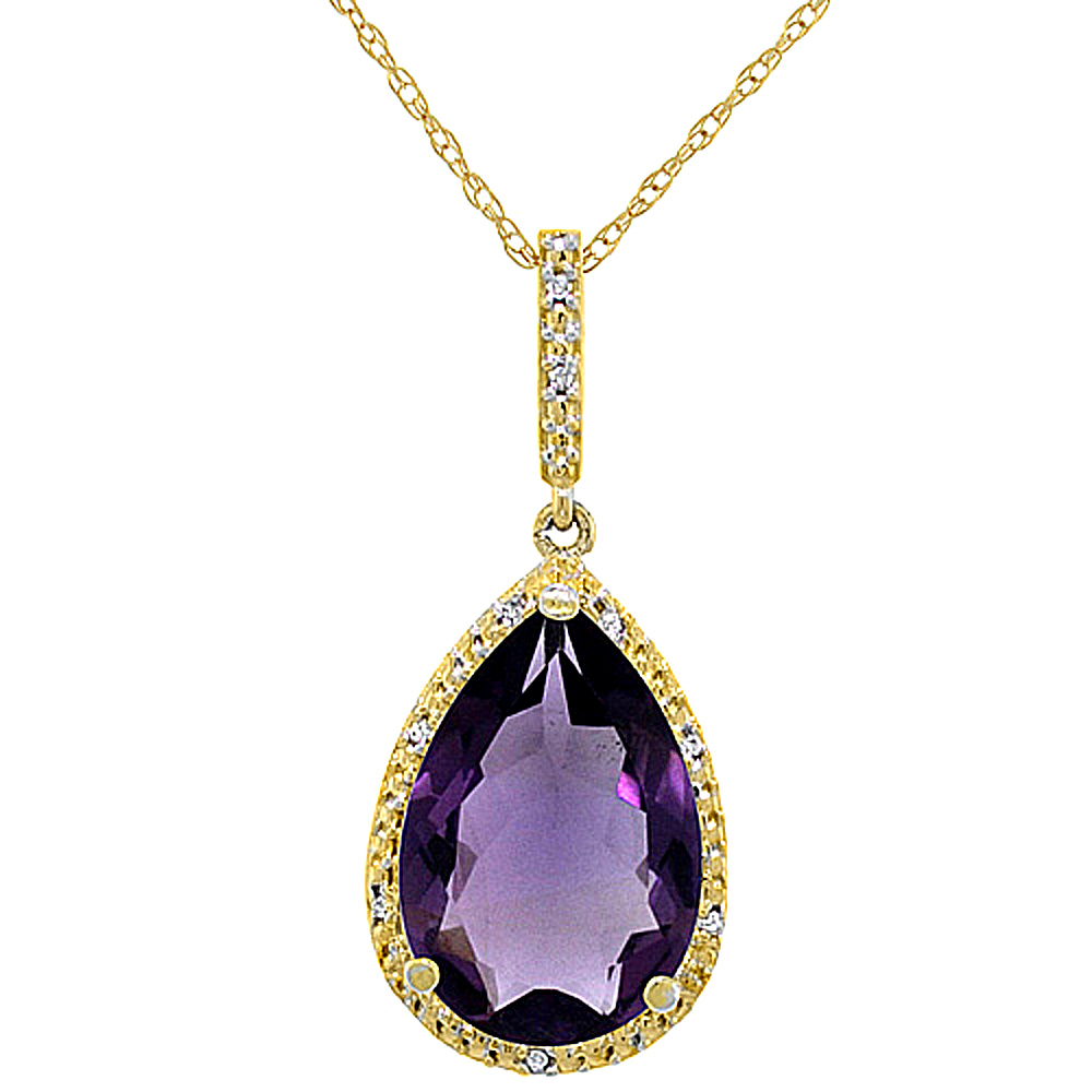 10K Yellow Gold Diamond Halo Natural Amethyst Necklace Pear Shaped 15x10 mm, 18 inch long