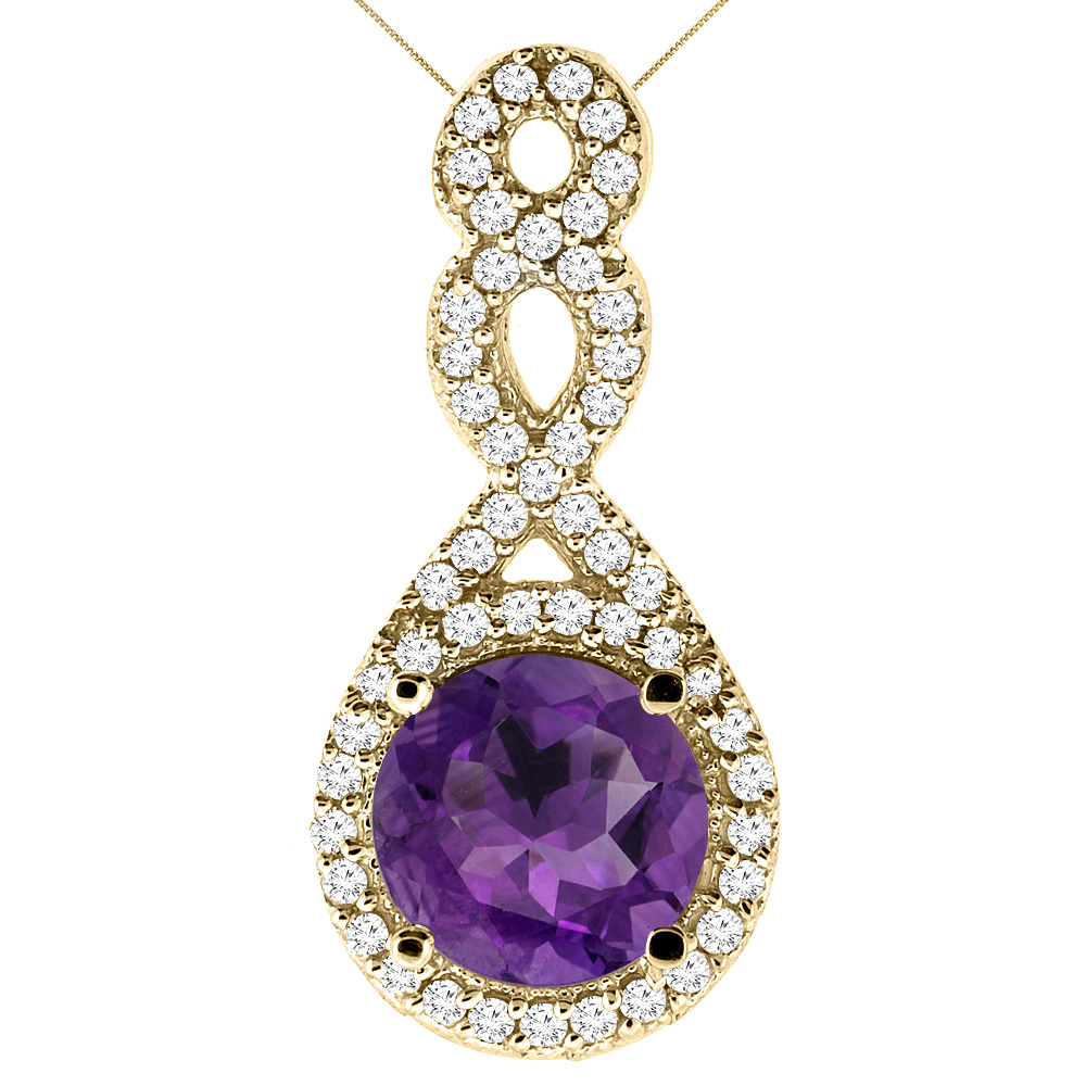 10K Yellow Gold Natural Amethyst Eternity Pendant Round 7x7mm with 18 inch Gold Chain