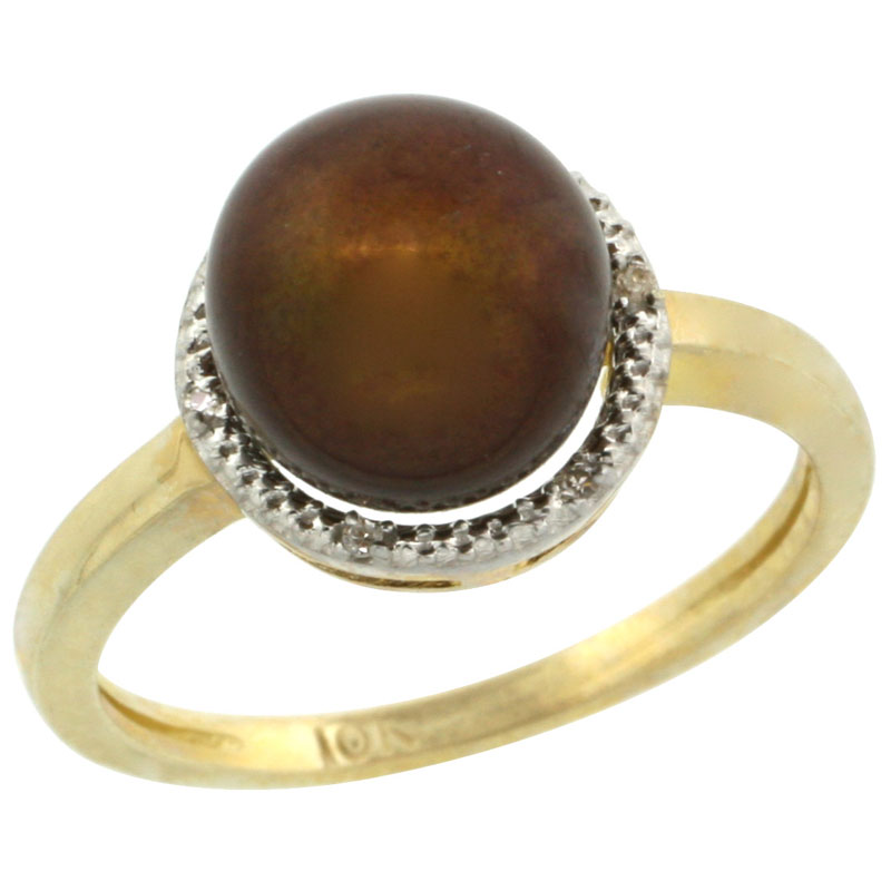 10k Gold Halo Engagement 8.5 mm Brown Pearl Ring w/ 0.022 Carat Brilliant Cut Diamonds, 7/16 in. (11mm) wide