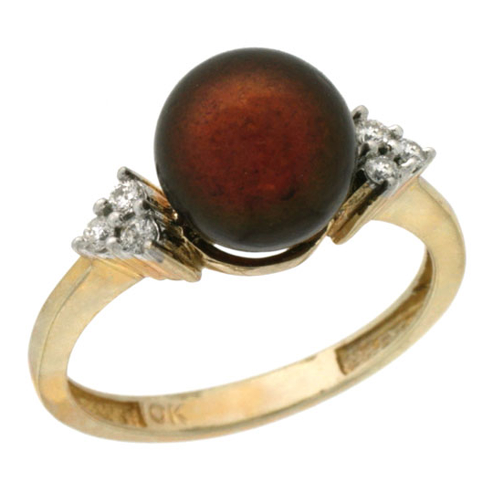 14k Gold 8.5 mm Brown Pearl Ring w/ 0.105 Carat Brilliant Cut Diamonds, 7/16 in. (11mm) wide