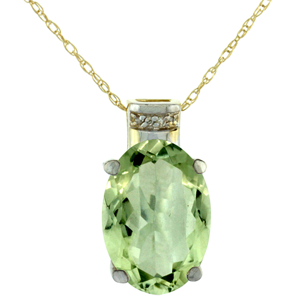 10K Yellow Gold Diamond Natural Green Amethyst Pendant Oval 14x10 mm