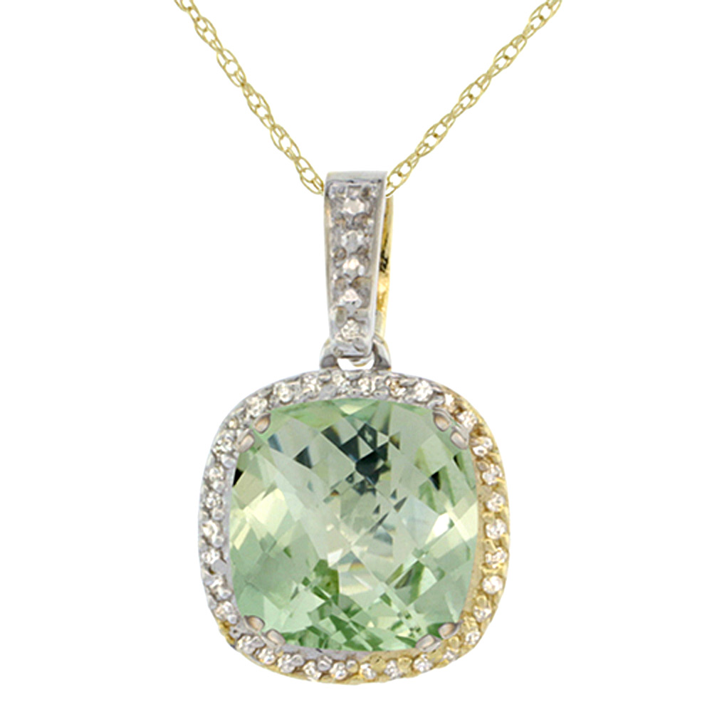 10K Yellow Gold Natural Green Amethyst Pendant Cushion 10x10 mm & Diamond Accents