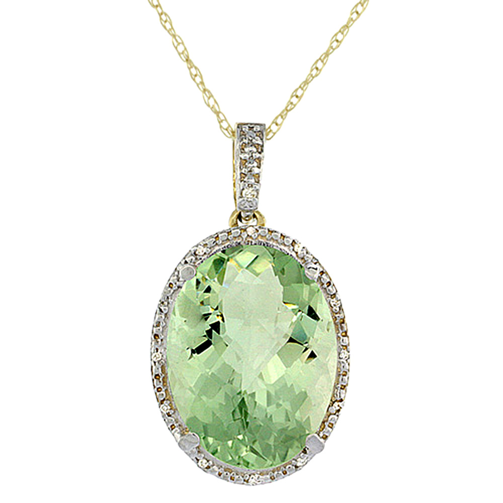10K Yellow Gold Diamond Natural Green Amethyst Pendant Oval 18x13 mm