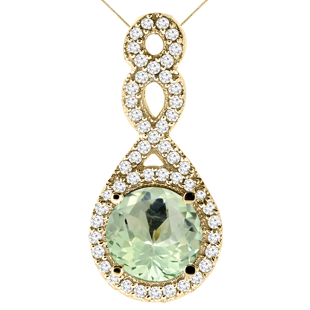 14K Yellow Gold Natural Green Amethyst Eternity Pendant Round 7x7mm with 18 inch Gold Chain
