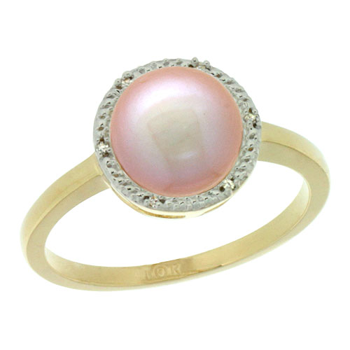 10k Gold Halo Engagement 8.5 mm Pink Pearl Ring w/ 0.022 Carat Brilliant Cut Diamonds, 7/16 in. (11mm) wide