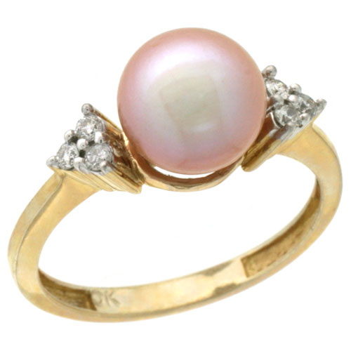 10k Gold 8.5 mm Pink Pearl Ring w/ 0.105 Carat Brilliant Cut Diamonds, 7/16 in. (11mm) wide