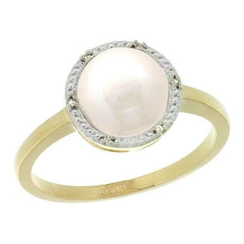 10k Gold Halo Engagement 8.5 mm White Pearl Ring w/ 0.022 Carat Brilliant Cut Diamonds, 7/16 in. (11mm) wide
