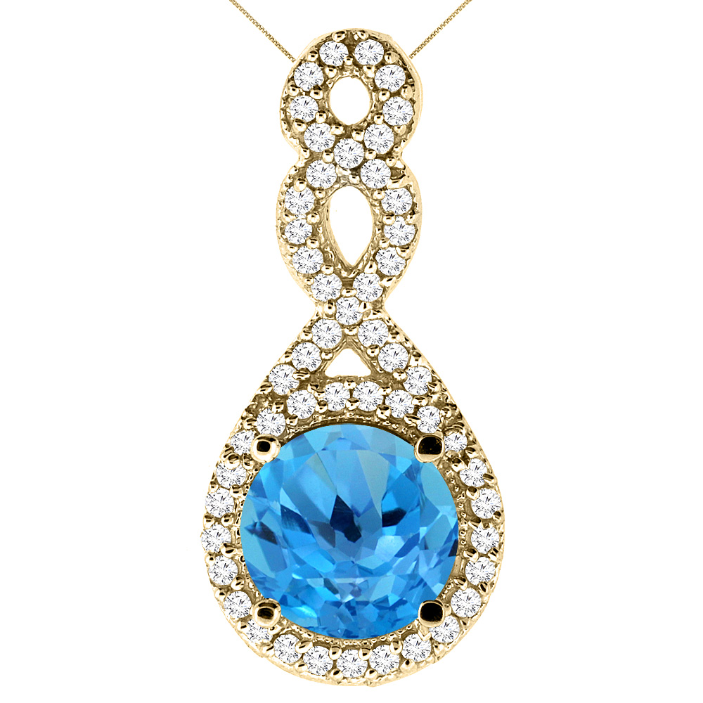 14K Yellow Gold Natural Swiss Blue Topaz Eternity Pendant Round 7x7mm with 18 inch Gold Chain
