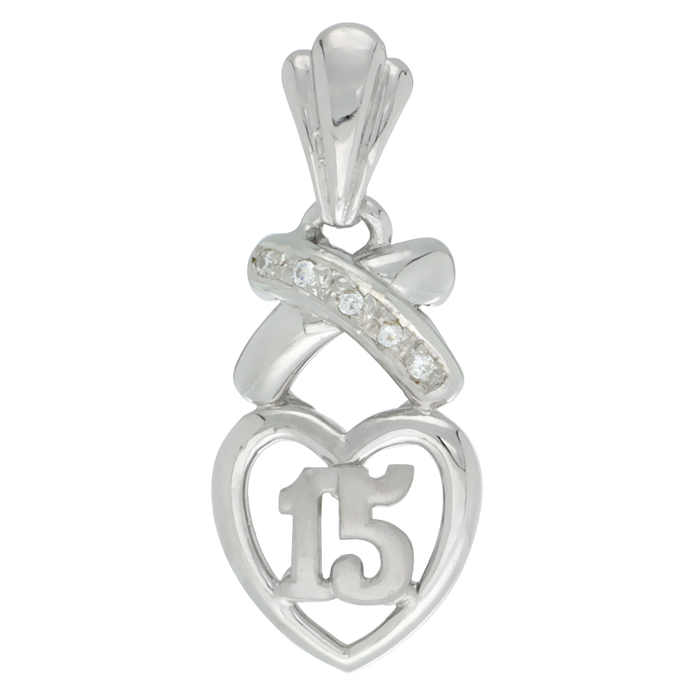 Sterling Silver Quinceanera 15 Anos Pendant Hearts and Kisses CZ stones Rhodium Finished, 3/4 inch long