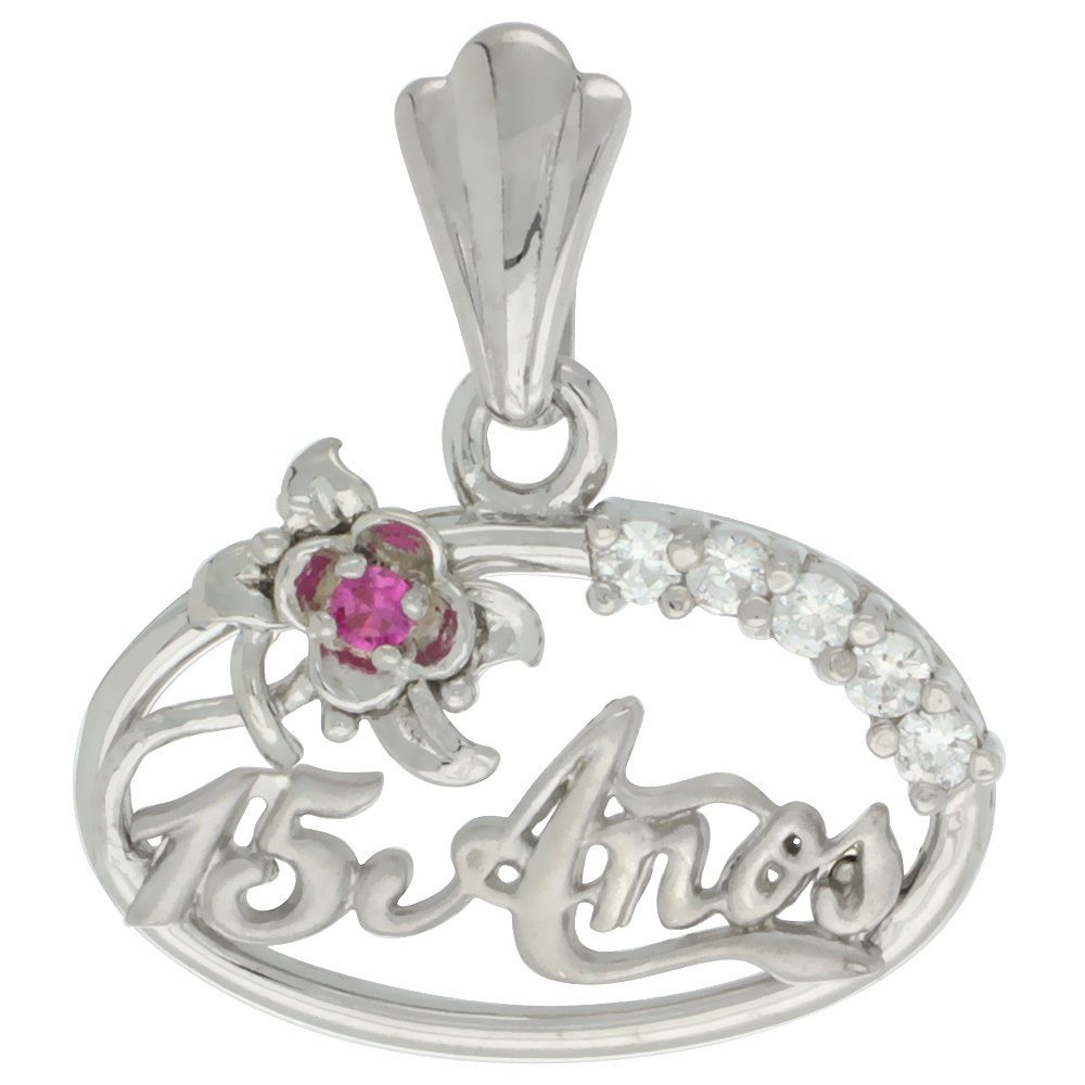 Sterling Silver Quinceanera 15 Anos Flower Pendant CZ Stones Rhodium Finished, 15/32 inch long