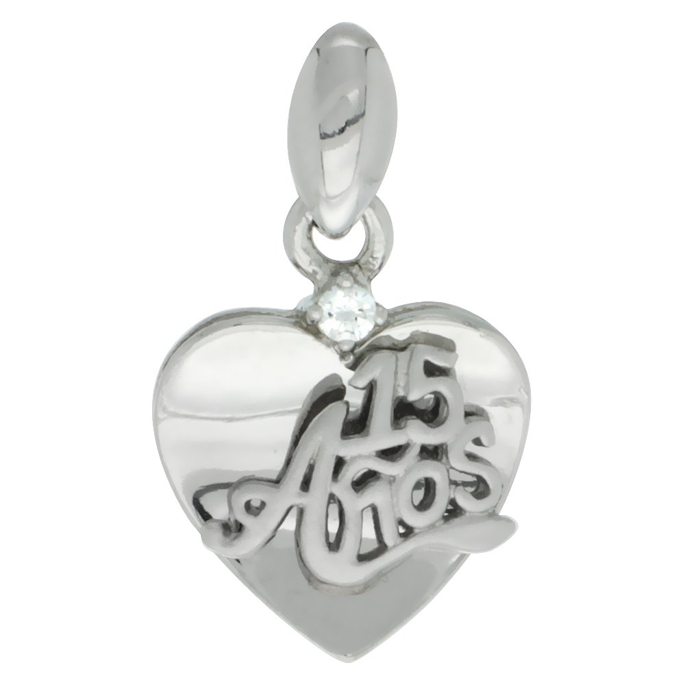 Sterling Silver Quinceanera 15 Anos Heart Pendant CZ Stones Rhodium Finished, 5/8 inch long