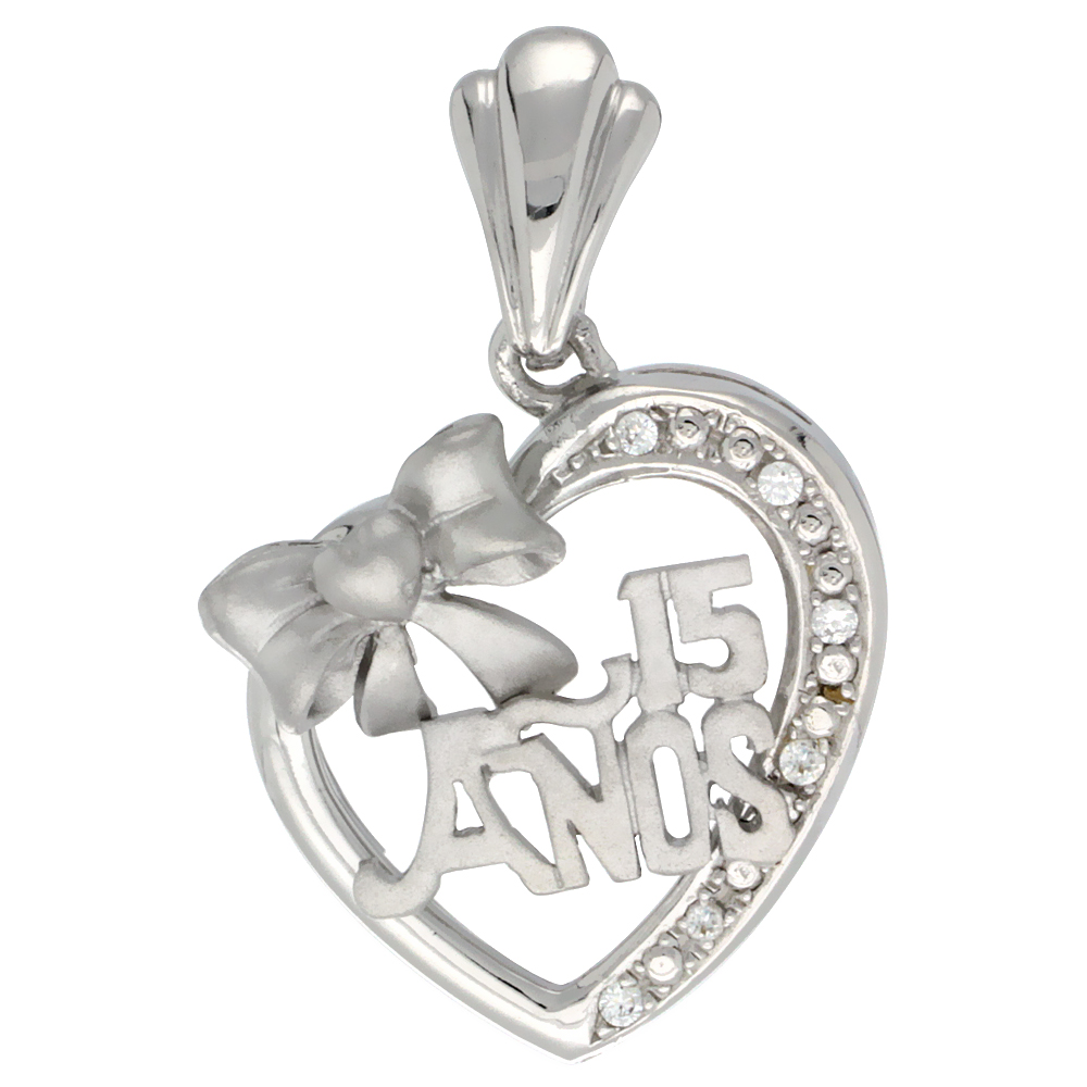 Sterling Silver Quinceanera 15 Anos Bow Heart Pendant CZ Stones Rhodium Finished, 29/32 inch long