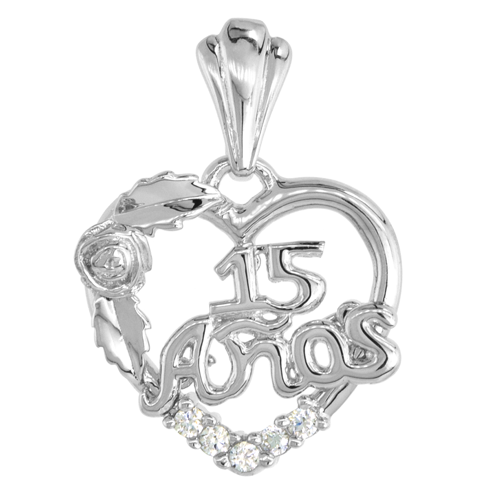 Sterling Silver Quinceanera 15 Anos Rose Pendant CZ Stones Rhodium Finished, 25/32 inch long