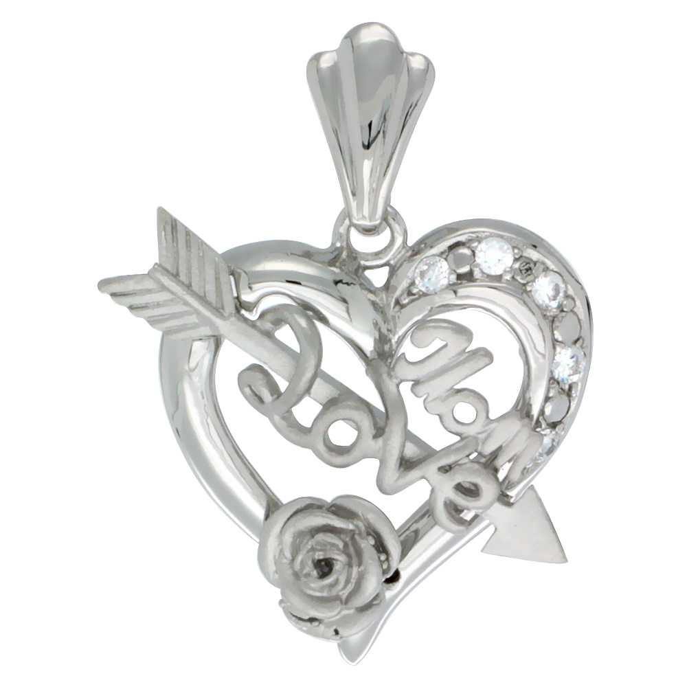 Sterling Silver HOLY 1st COMMUNION Cross Heart Medal 25//32 inch long