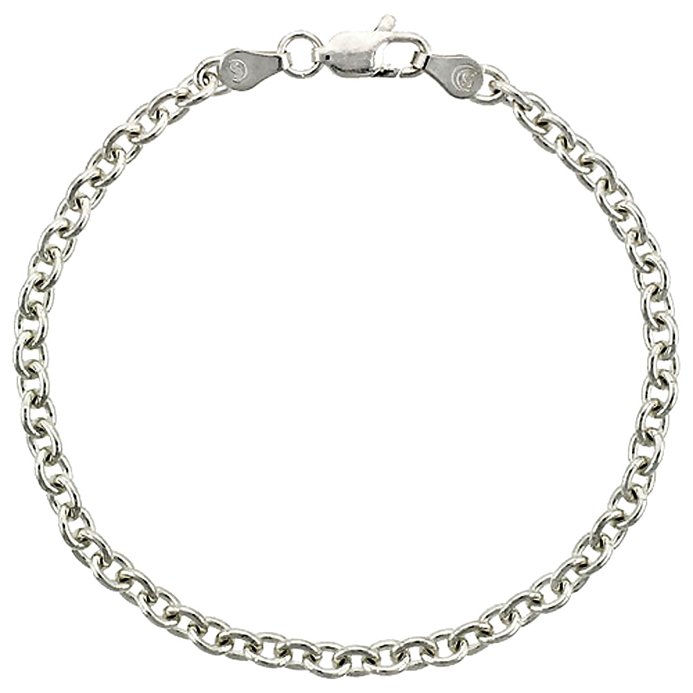 Sterling Silver Cable Chain Necklaces & Bracelets 3.8mm Nickel Free Italy, sizes 7 - 30 inches