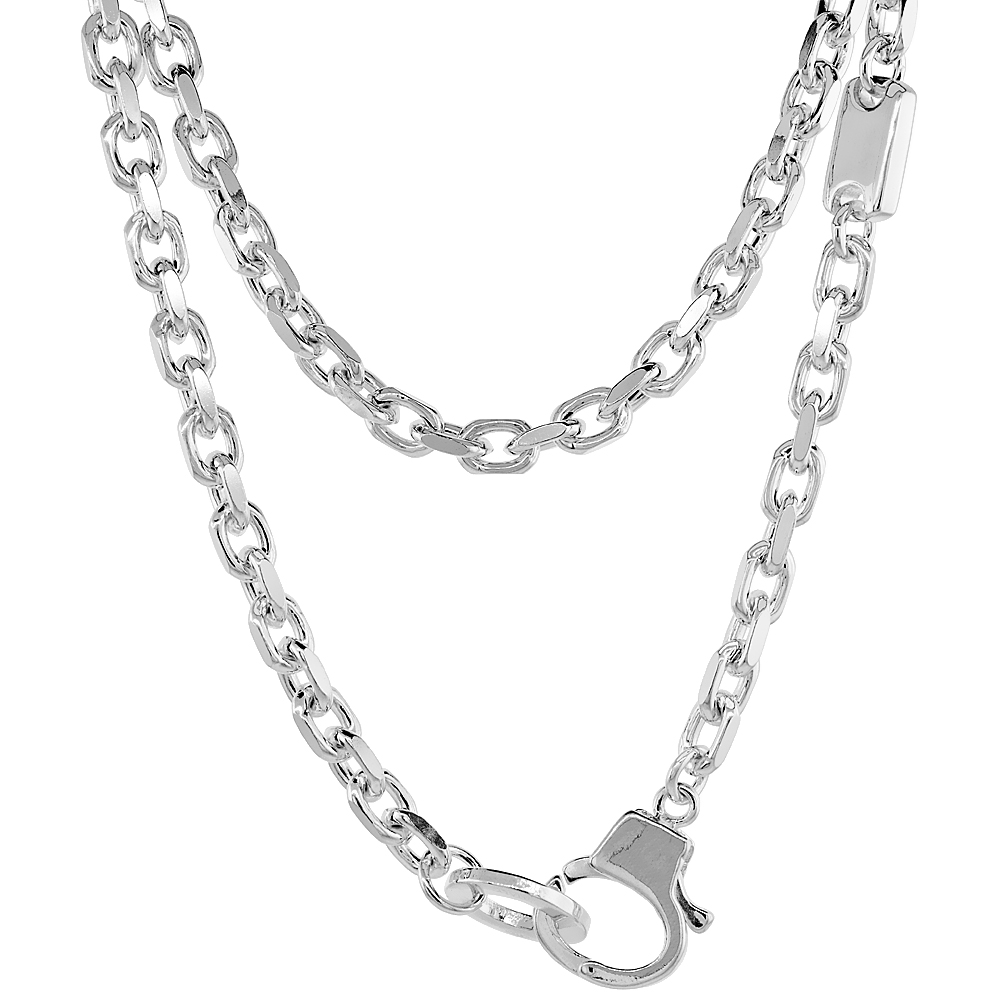 Sterling Silver Cable Link Chain Necklace 5mm with Small ID Tag Nickel Free Italy, 20 inch