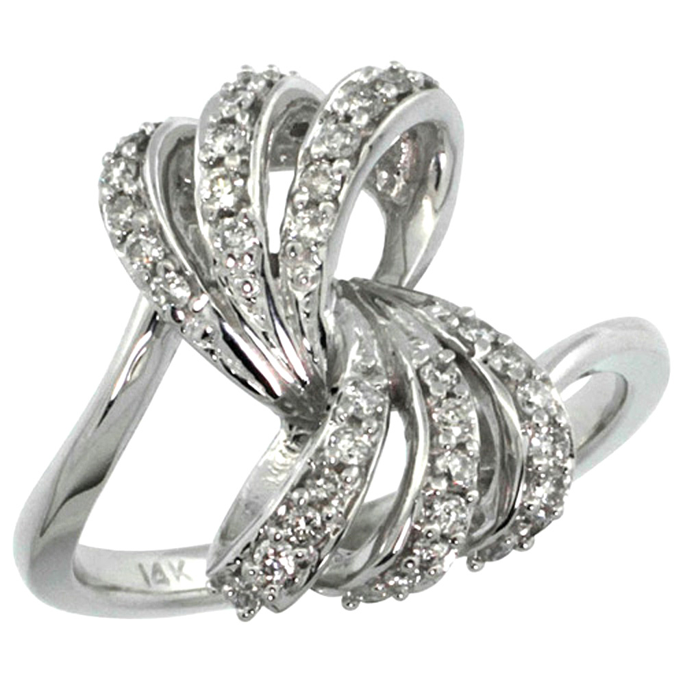 10K White Gold Ribbon Diamond Ring 0.39 cttw, 11/16 inch wide