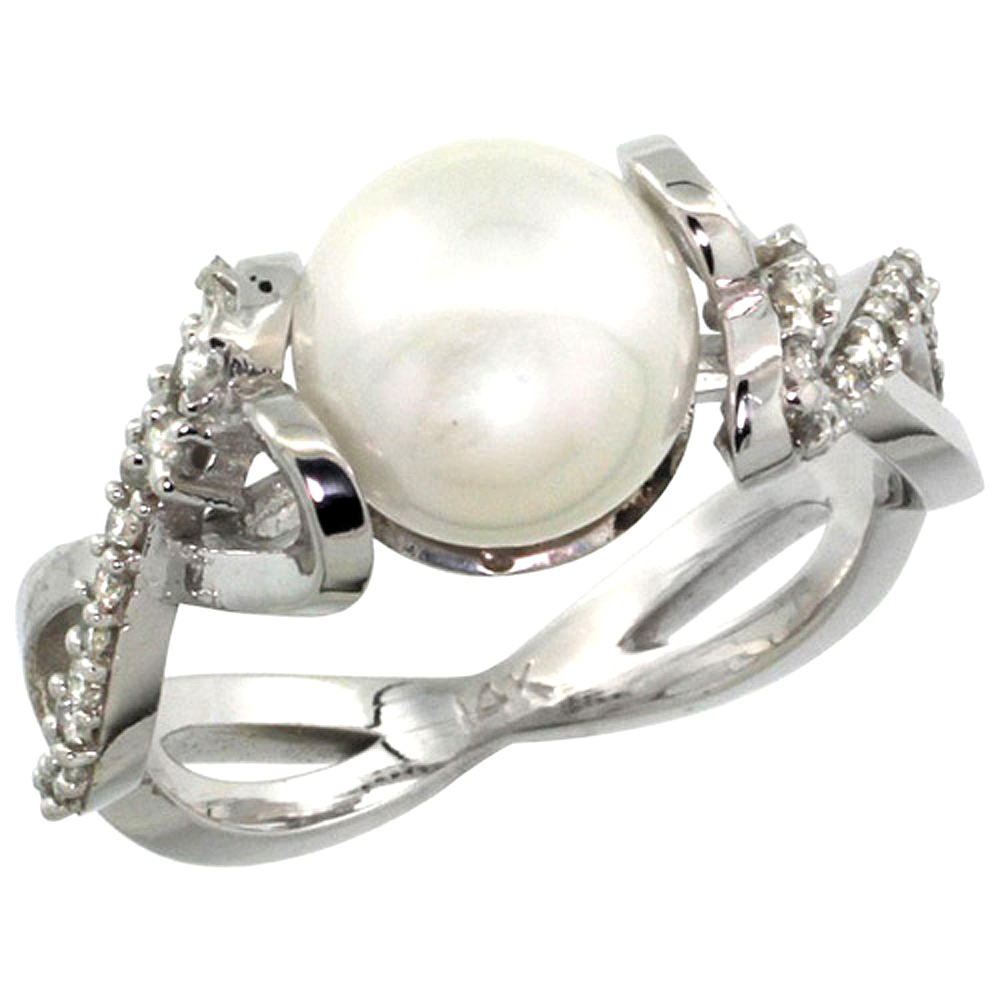 10K Gold Infinity Ring with 0.32 cttw Diamonds & 9mm White Pearl, 3/8 inch wide
