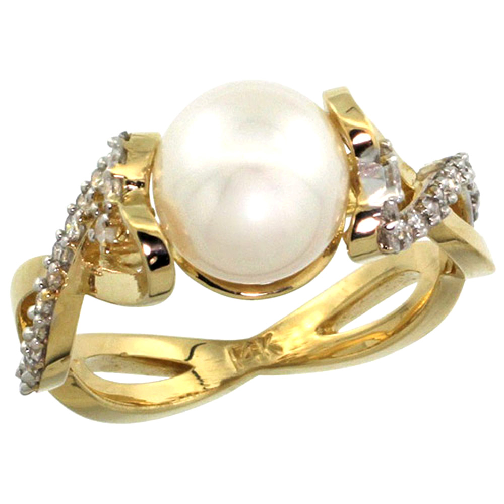 10K Yellow Gold Infinity Ring with 0.32 cttw Diamonds & 9mm White Pearl, 3/8 inch wide