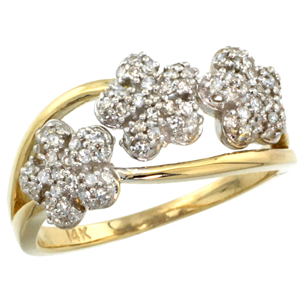 10K Yellow Gold Triple Flower Diamond Ring 0.50 cttw, 3/8 inch wide