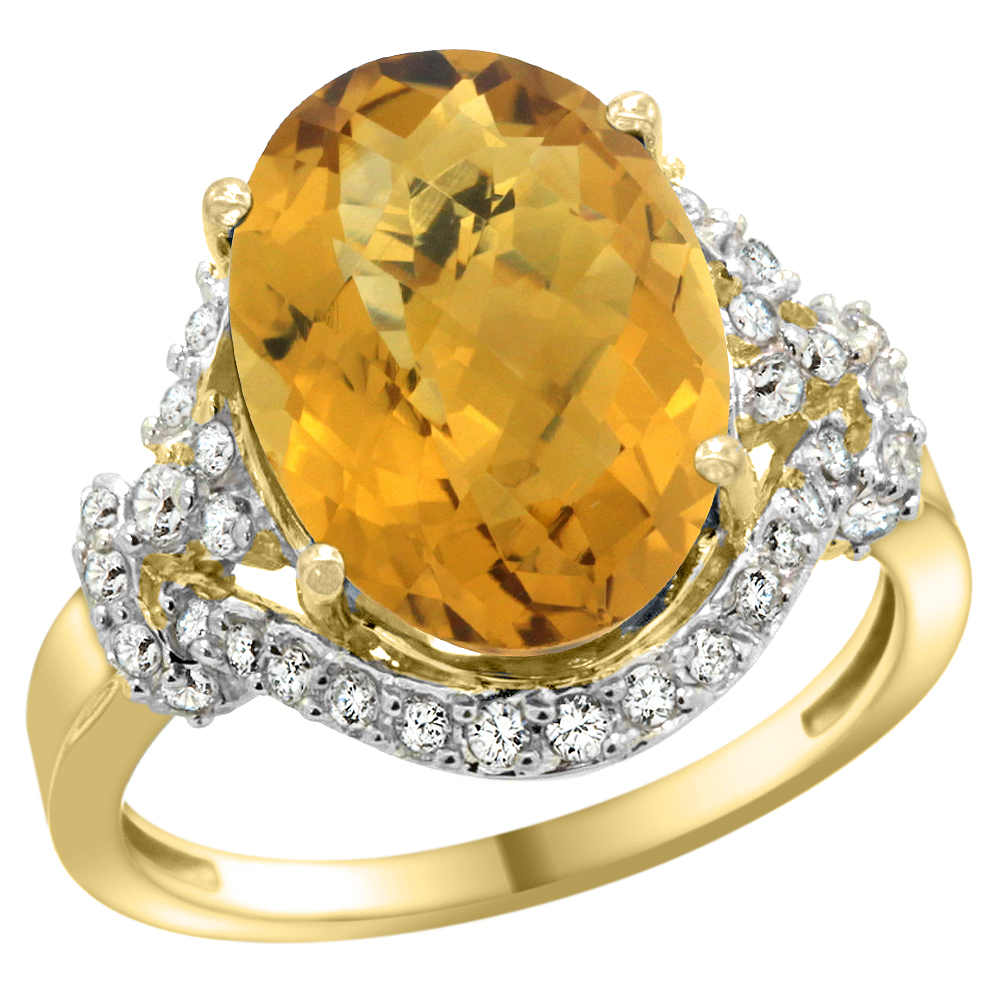 14k Yellow Gold Natural Whisky Quartz Ring Diamond Halo Oval 14x10mm, 3/4 inch wide, sizes 5 - 10